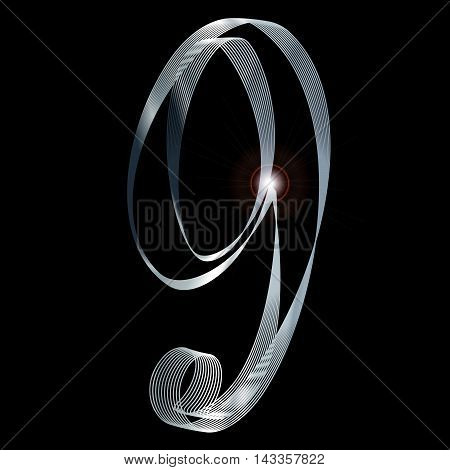 The number nine depicted in fine silver thread over a black background