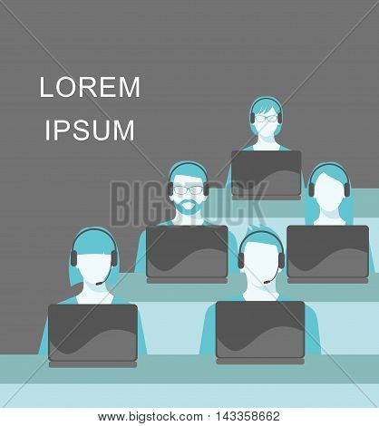 Men and women working in a call center. Support service concept. Male and female avatars with headset and call center icons. Vector illustration