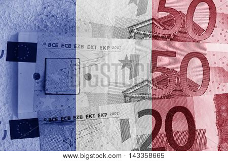 Euro banknotes, switch and French flag - Finance concept