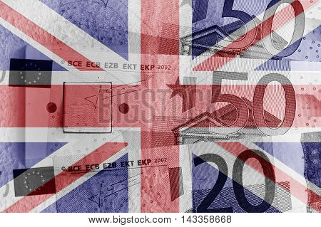 Euro banknotes, switch and UK flag - Finance concept