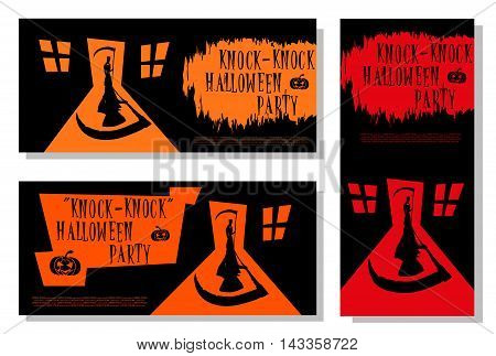 Set of Halloween banner. Scary death with scythe standing in door house and big shadow. Cartoon style. Design for cards posters or tickets on holiday party. Vector illustration.