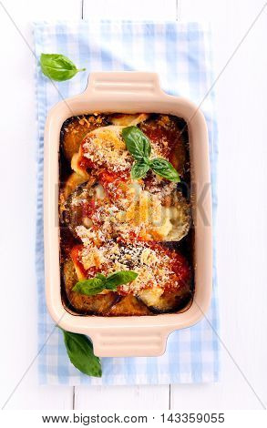 Aubergine tomato and cheese bake in a tin top view