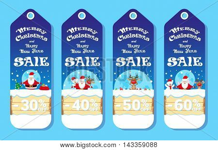 Set of holidays cards with Santa Claus and Snowman adn Deer in cartoon style. Design concept for price label flyer or banner. Vector illustration