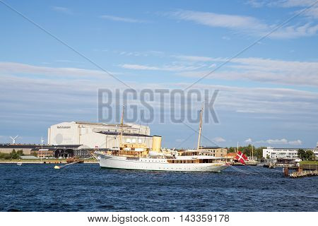 Copenhagen, Denmark - August 17, 2016: The Danish Royal Yacht Dannebrog anchored in Copenhagen harbour