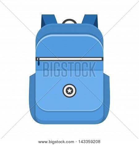 Backpack isolated on white background. School bag handle strap sack in flat style. Blue schoolbag supplies educational