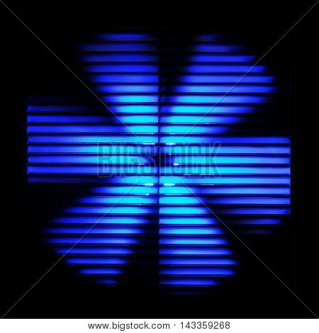 ventilation. blue and black photo of fan