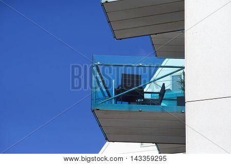 AARHUS DENMARK - AUGUST 14 2016: New modern balcony on Aarhus harbor. The buildings called The Iceberg. Aarhus will be European capital of culture in 2017 August 14 2016.