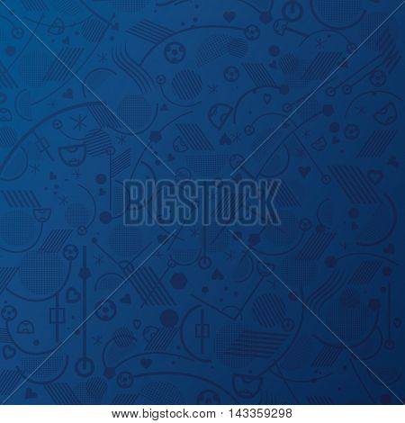 Soccer abstract blue pattern. European Championship soccer blue background. Vector illustration for Art, Print, Web design. Abstract football lines and shapes pattern.