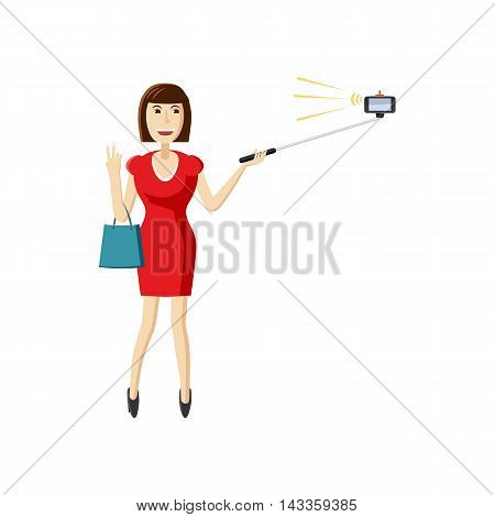 Girl in red dress making selfie with a stick icon in cartoon style on a white background