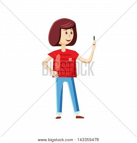 Standing girl taking selfie photo icon in cartoon style on a white background