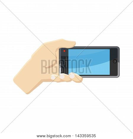 Selfie with mobile smart phone icon in cartoon style on a white background