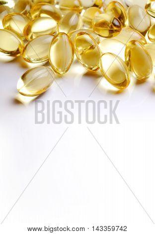 Omega 3 Fish oil capsules closeup macro