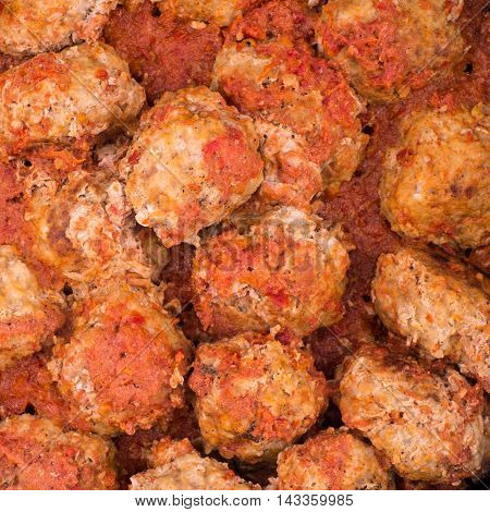 Stewed meatballs. Food background and texture. Top view.