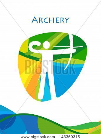 Rio 2016 abstract colorful Olympics Archery flyer. Rio de Janeiro 2016 Brazil pattern. Summer Athletic Sport Brazil. Olympics Game. Archery, target, arrow icon. Vector illustration for Art, Print, web design, advertising.