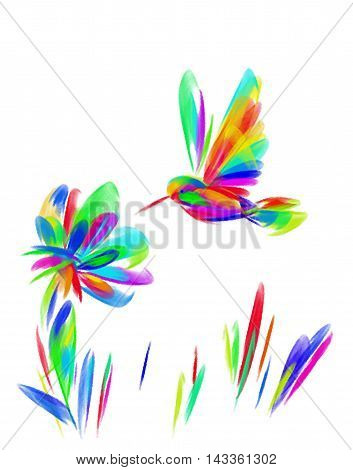 The image of a bright rainbow bird Hummingbird over a flower. Protection of the environment. Ecology. Image.