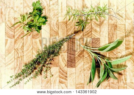 parsley thyme basil and rosemary on a wooden cutting board