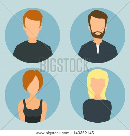 Character oval icon cartoon flat vector illustration man and girl