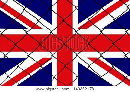 UK flag, cracks and fence - Refugee crisis concept