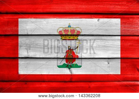 Flag Of Gijon, Spain, Painted On Old Wood Plank Background