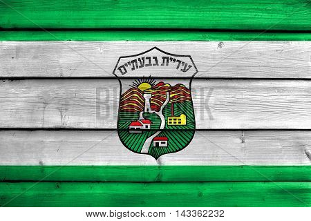 Flag Of Givatayim, Israel, Painted On Old Wood Plank Background