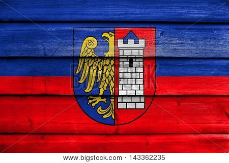 Flag Of Gliwice, Poland, Painted On Old Wood Plank Background