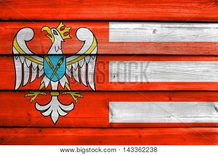 Flag Of Gniezno County, Poland, Painted On Old Wood Plank Background