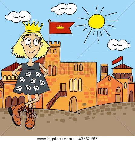 Princess on a castle background, drawing cartoon