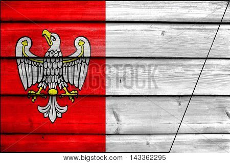 Flag Of Greater Poland Voivodeship, Poland, Painted On Old Wood Plank Background