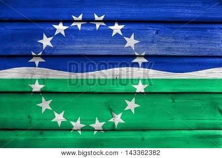 Flag Of Hampton Roads, Virginia, Usa, Painted On Old Wood Plank Background