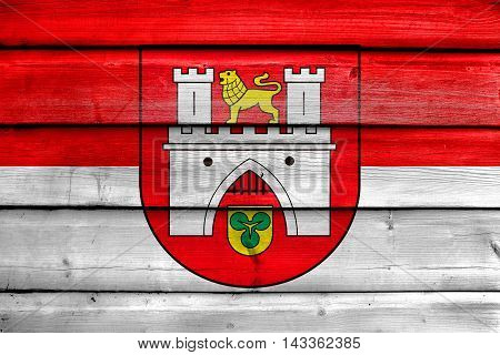 Flag Of Hanover, Germany, Painted On Old Wood Plank Background
