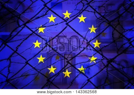 Euros, fence, EU flag and cracks - Finance/Business concept