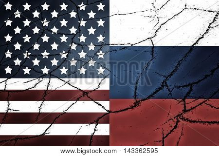 USA flag and Russian flag and cracks