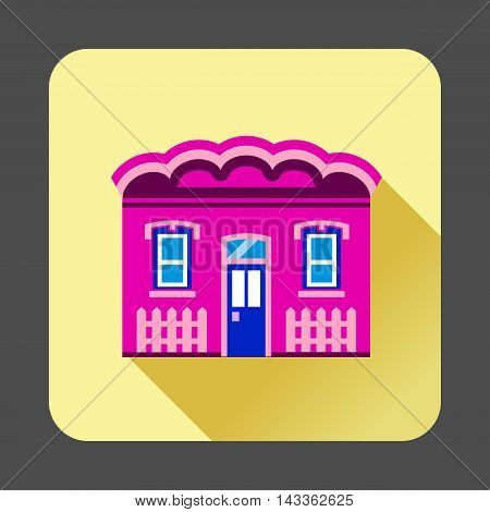 Purple cottage icon in flat style with long shadow