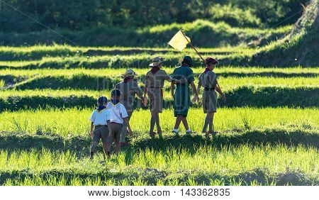 Asian Boy Scouts in a Campsite, Countryside of Thailand