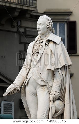 Statue of the great italian composer Carlo Goldoni in Florence, Italy
