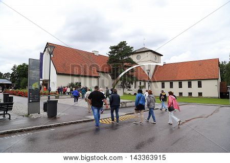 OSLO, NORWAY - JULY 1, 2016: Visitors are directed to the Viking Ship Museum on the museum peninsula Byugdoy.