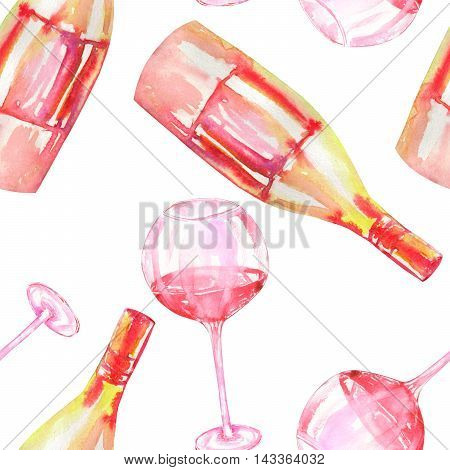 A seamless pattern with the hand-drawn glasses of red wine and wine (champagne) bottles. Painted in a watercolor on a white background.