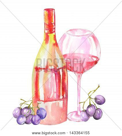 Image of the isolated watercolor red wine (champagne) bottle, blue (violet) grapes and glass of the red wine. Painted hand-drawn in a watercolor on a white background.