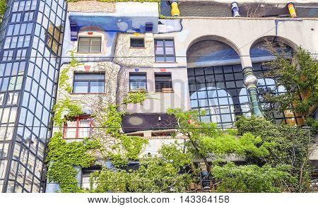 Vienna, Austria - August 15, 2016: Facade Of The Hundertwasserhaus, An Apartment Building Built Afte