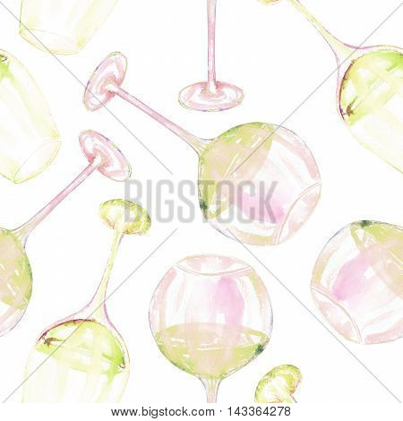 A seamless pattern with the hand-drawn glasses of white wine. Painted in a watercolor on a white background.