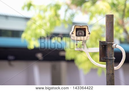cctv for crime prevention and blured facility background