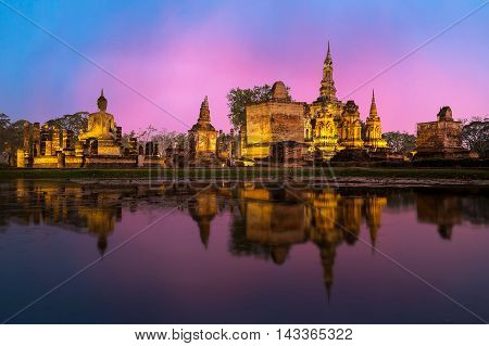 Sukhothai historical park the old town of Thailand in 800 year ago location North of Thailand