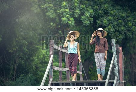 Thai people working woman in countryside Thailand