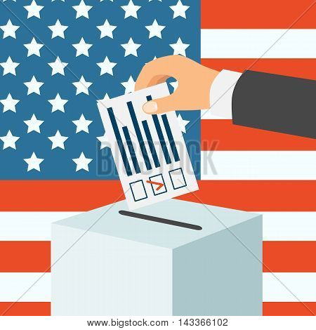 USA election concept. Male hand putting voting paper in a ballot box flat design vector illustration