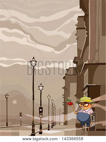 cartoon funny man staring at an apple standing in the city