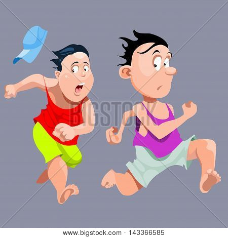 cartoon two people quickly run very fast