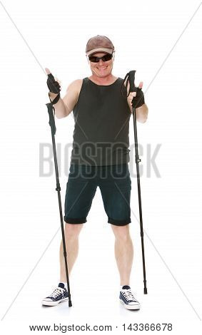 Man in t-shirt and shorts, Nordic walking stick, shows a sign all is well -Isolated on white background