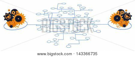 Gears linked by line network 3d illustration isolated horizontal