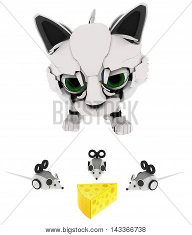 Robotic kitten with mice and cheese 3d illustration horizontal isolated