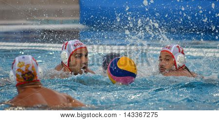 Budapest, Hungary - Jul 17, 2014. Montenegro's KLIKOVAC Filip (MNE, 11) and JOKIC Predrag (MNE, 12). The Waterpolo European Championship was held in Alfred Hajos Swimming Centre in 2014.